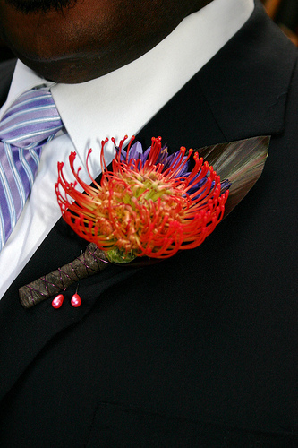 Flowers & Decor, orange, purple, Boutonnieres, Flowers, Boutonniere, Fujikos flowers, Pin cushion