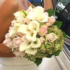 Reception, Flowers & Decor, Bridesmaids, Bridesmaids Dresses, Fashion, white, pink, green, Bride Bouquets, Bridesmaid Bouquets, Flowers, Roses, Bouquet, Wedding, Brides, Hydrangeas, Callas, Nationwide, Farms, Perla, Perla farms, Flower Wedding Dresses