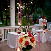 Reception, Flowers & Decor, white, yellow, orange, pink, green, Centerpieces, Flowers, Centerpiece, Petal pushers - austin