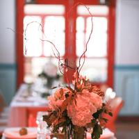 Reception, Flowers & Decor, white, green, Centerpieces, Flowers, Centerpiece, Bright blue events