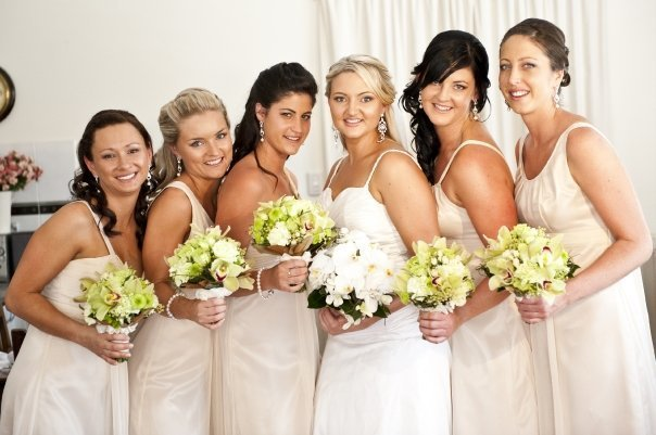 Ceremony, Inspiration, Reception, Flowers & Decor, Bridesmaids, Bridesmaids Dresses, Fashion, white, ivory, green, brown, black, silver, gold, Ceremony Flowers, Bridesmaid Bouquets, Flowers, Roses, Champagne, Orchids, Board, Cream, Bouquets, Berries, Brisbane, Flower Wedding Dresses