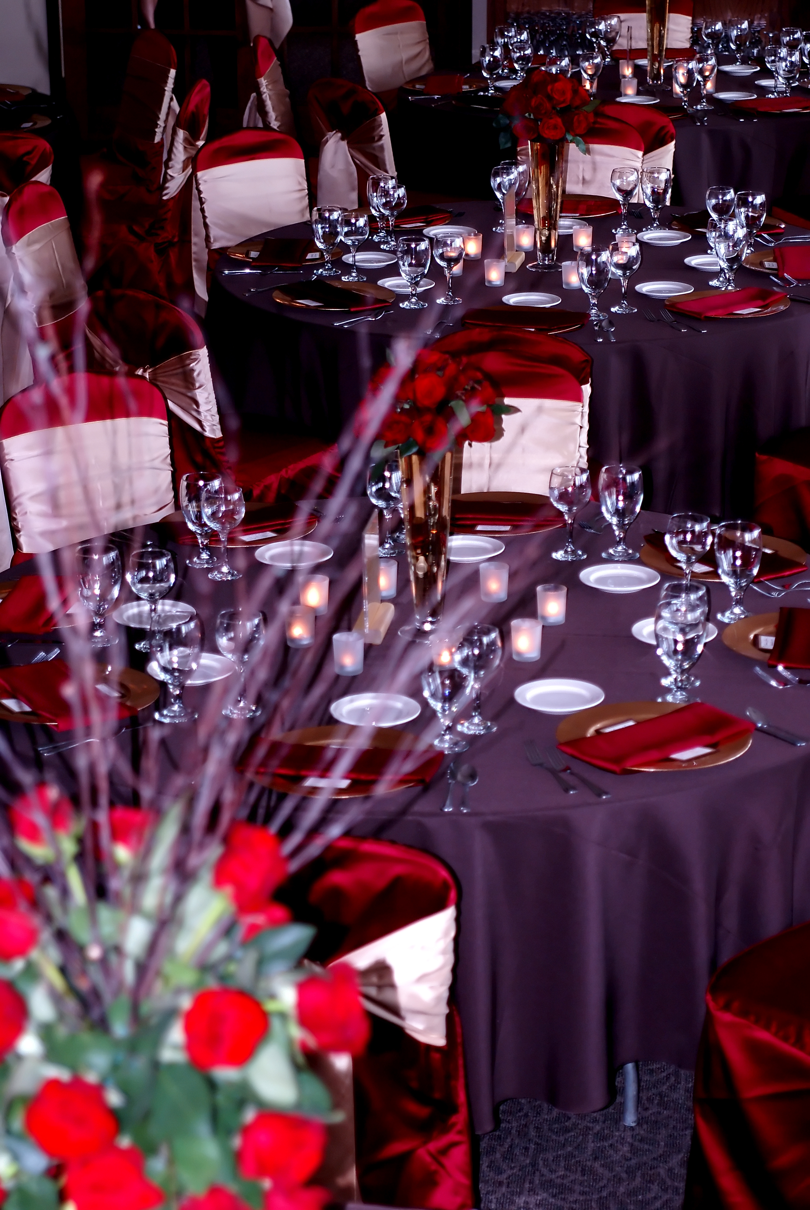 Inspiration, Reception, Flowers & Decor, red, brown, gold, Board, llc, Virtuous events