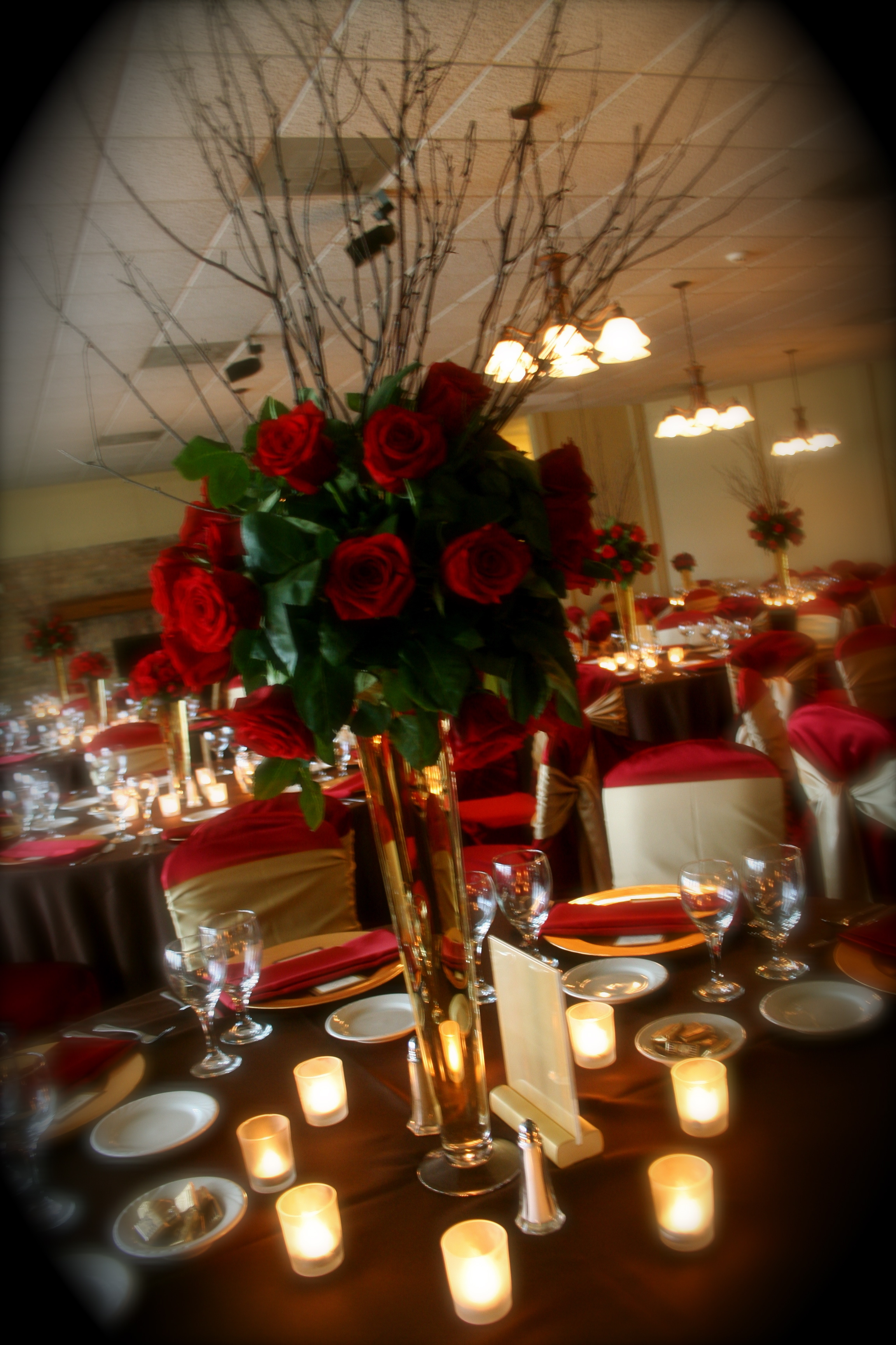 Reception, Flowers & Decor, red, brown, gold, Flowers, llc, Virtuous events
