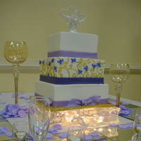 Cakes, purple, gold, cake, Square Wedding Cakes, Square, Wisteria, Scroll, Lavender, Apple-butter bakery custom cake shoppe