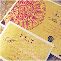 Stationery, yellow, pink, red, brown, Invitations, Bohemian, Cachic design