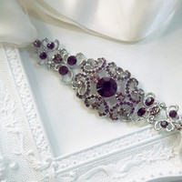 Beauty, Reception, Flowers & Decor, Jewelry, Bridesmaids, Bridesmaids Dresses, Vintage Wedding Dresses, Fashion, white, ivory, purple, silver, Headbands, Vintage, Accessories, Hair, Crystal, Ribbon, Swarovski, Ornate, Accessory, Rhinestone, Headband, Amethyst, Etsy lottiedadesigns, Hairband