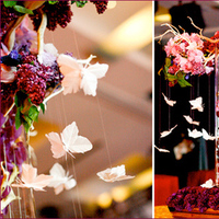 Reception, Flowers & Decor, pink, red, purple, Centerpieces, Centerpiece, Butterfly, Pretty, Manzanita