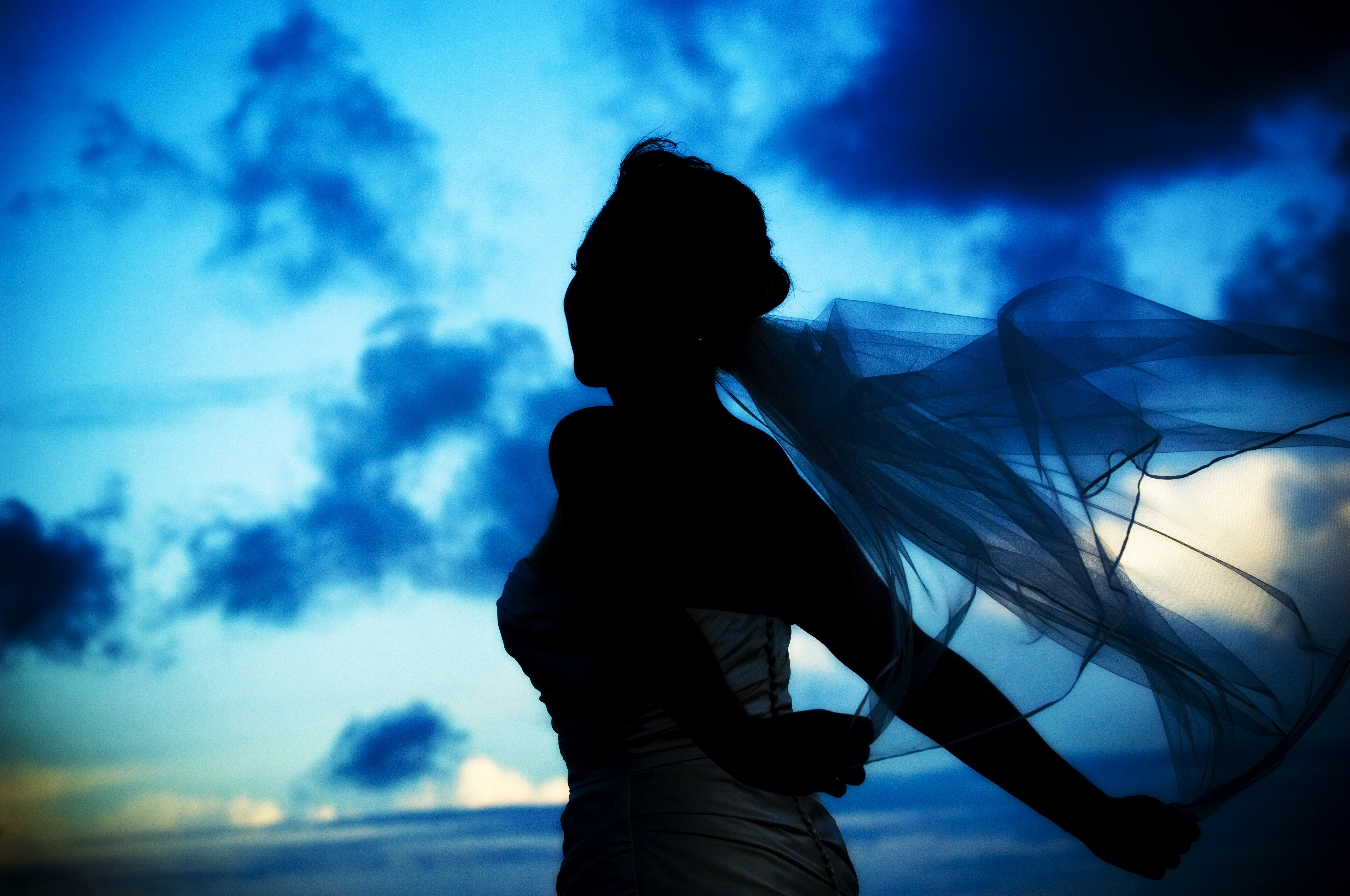 Beauty, Inspiration, Wedding Dresses, Veils, Fashion, white, blue, black, dress, Bride, Veil, Hair, Bridal, Board, Simons, St, Island, Georgia, Silhouette, Diana daley photographers