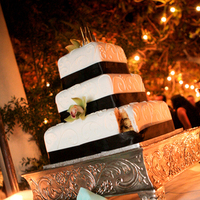 Reception, Flowers & Decor, Cakes, white, green, black, cake, Orchid