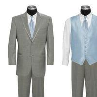 blue, gray, Groomsmen