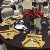 Favors & Gifts, orange, brown, gold, Favors, Napkins, Red carpet event planning, Reception tables