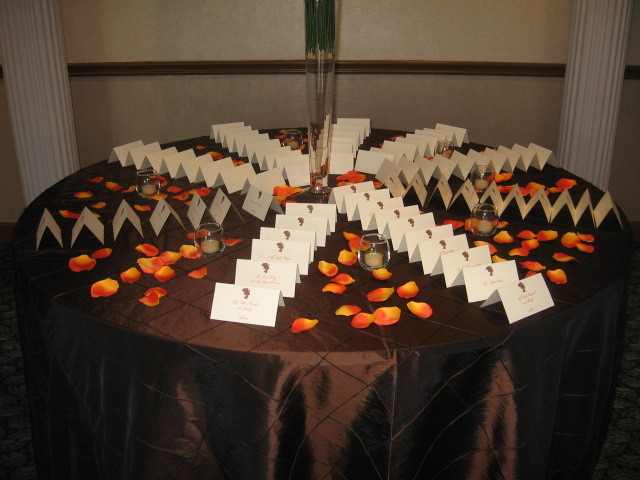 Reception, Flowers & Decor, Stationery, orange, brown, gold, Centerpieces, Escort Cards, Centerpiece, Red carpet event planning