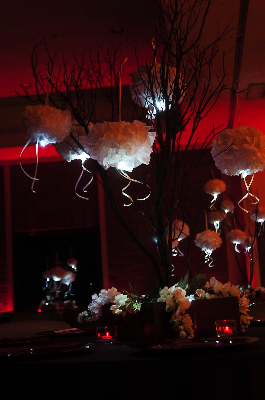 DIY, Reception, Flowers & Decor, white, yellow, pink, red, green, black, Centerpieces, Centerpiece, Manzanita, Pompoms