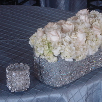 Reception, Flowers & Decor, white, silver, Centerpieces, Flowers, Centerpiece, Vase, Ribbon, With, Wrapped