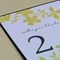 yellow, black, Custom, Table, Floral, Number, 2bsquared designs