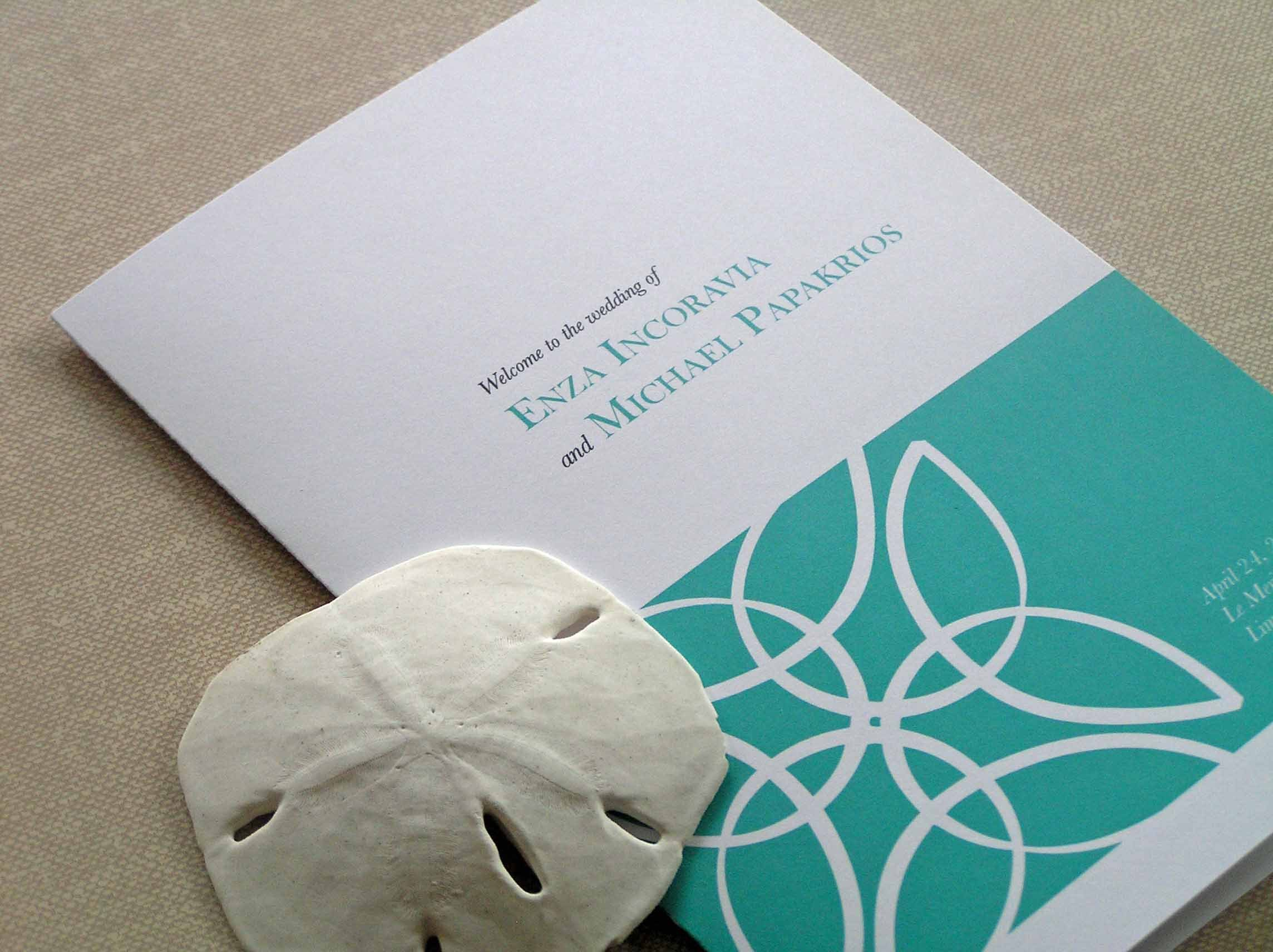 Ceremony, Inspiration, Flowers & Decor, Stationery, Destinations, white, Beach, Invitations, Ceremony Programs, Beach Wedding Flowers & Decor, Wedding, Program, Destination, Board, Sand, Dollar, Aqua, 2bsquared designs