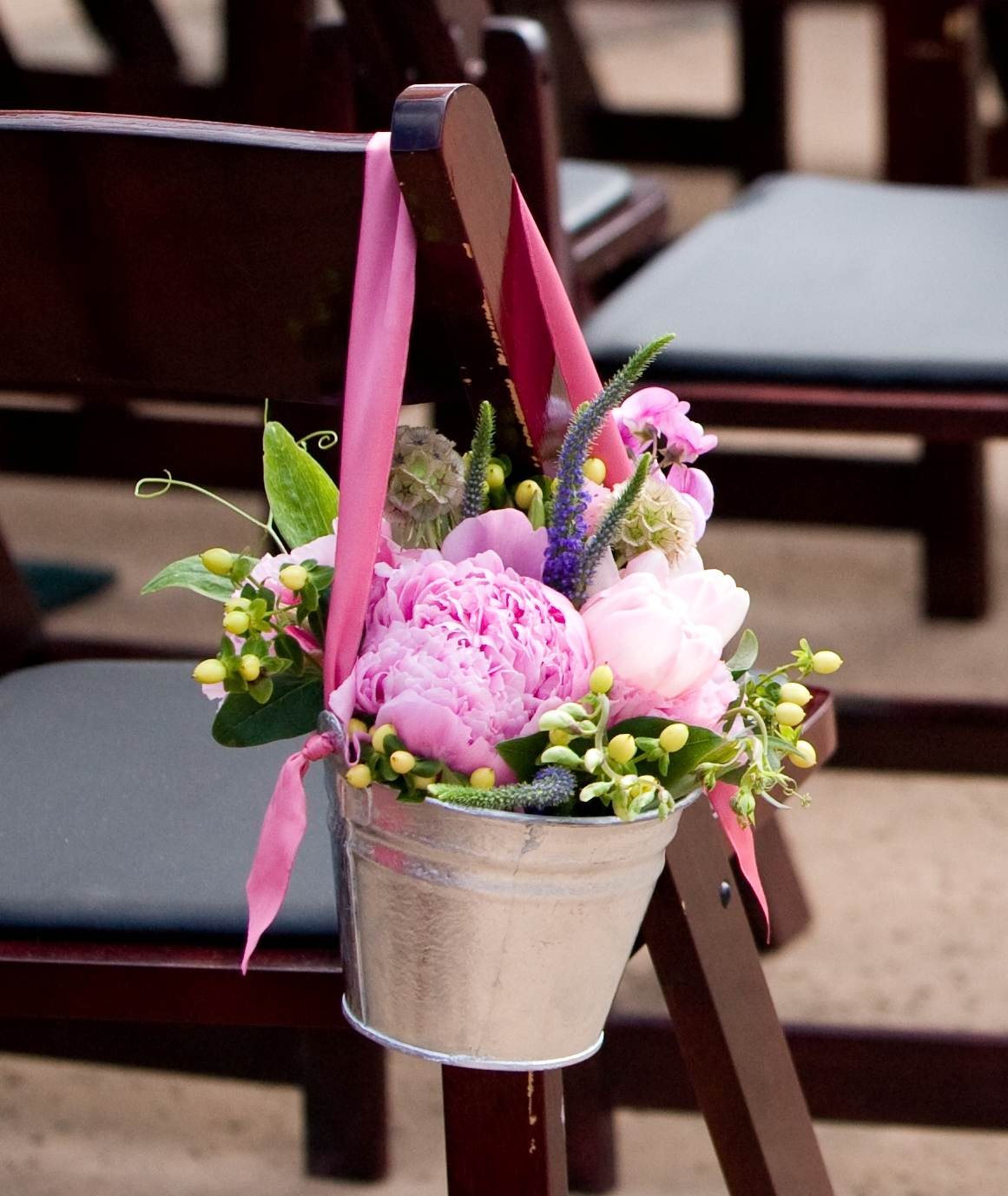 Wedding Aisle Flowers: Sweet Colorful Chair Decor Of Peonies Tulips Sweet Peas
