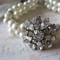 Flowers & Decor, Jewelry, Bridesmaids, Bridesmaids Dresses, Fashion, white, ivory, Bracelets, Flower, Bridal, Pearls, Crystal, Anniversary, Glamorous, Weddings, Bracelet, Swarovski, Dramatic, Crystals, Rhinestones, Double, Clear, Strand, Feminine, Mykonos wedding