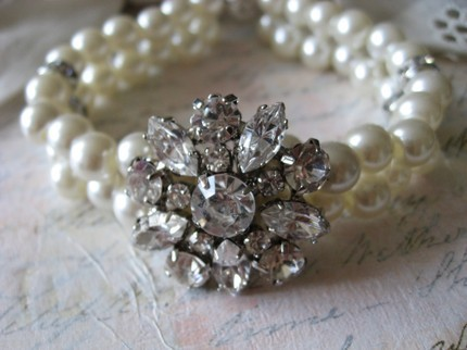 white, Bridesmaids, Bridal, Jewelry, Flower, ivory, Crystal, Pearls, Weddings, Crystals, Swarovski, Bracelet, Rhinestones, Dramatic, Anniversary, Glamorous, Clear, Strand, Double, Feminine, Mykonos wedding, Bracelets, Flowers & Decor, Fashion, Bridesmaids Dresses