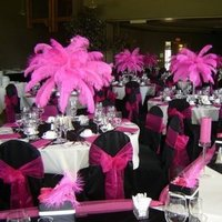 Beauty, Reception, Flowers & Decor, pink, black, Feathers, Centerpieces, Feather, Silva designs
