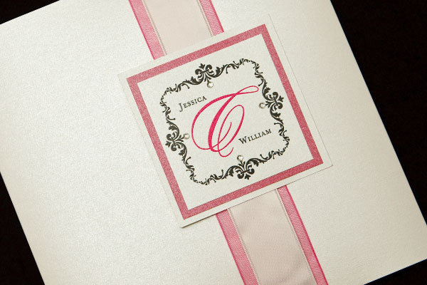 Stationery, white, pink, silver, invitation, Invitations, Crystal, Rhinestone