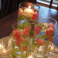 Reception, Flowers & Decor, pink, Centerpieces, Candles, Flowers, Centerpiece, Tulips, Submerged, The blue orchid