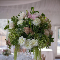 Reception, Flowers & Decor, white, pink, green, Centerpieces, Flowers, Roses, Centerpiece, Lilies, Tall, Hydrangea, Dahlias, The blue orchid