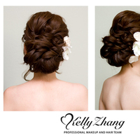 Beauty, pink, gold, Makeup, Hair, Kelly, Loose, Kelly zhang make up artists and hair stylists team, Curls, Zhang