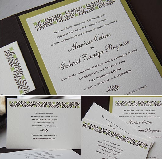 Stationery, green, brown, Invitations, Folio, Kavamore press