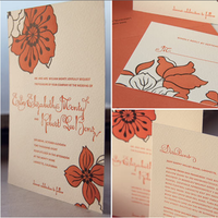 orange, red, black, Floral, Kavamore press