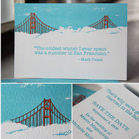 Stationery, Destinations, orange, red, blue, Invitations, Save-the-Dates, Destination, Kavamore press, Sanfrancisco