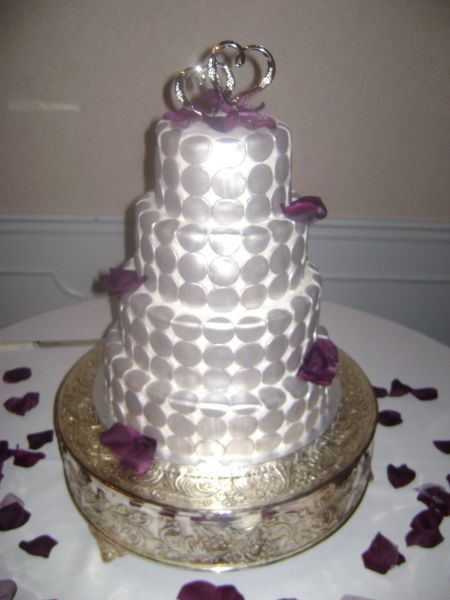 Cakes, silver, cake, Fondant, Buttercream, Circles, With, Florals, Silk, Delectable delights by debbie