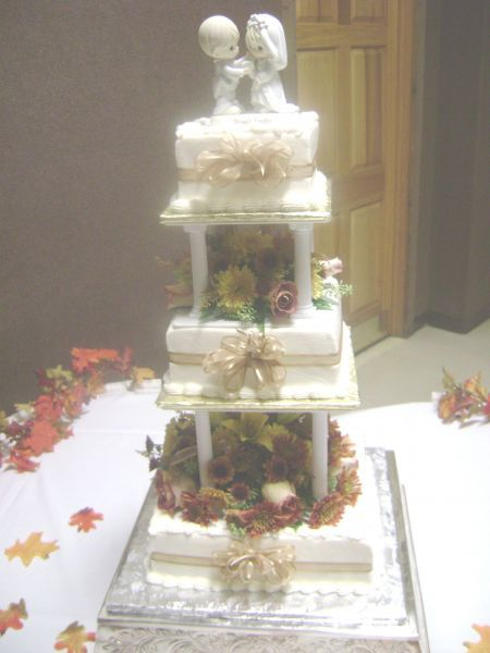 Cakes, orange, gold, cake, Buttercream, With, Ribbons, Real, Delectable delights by debbie