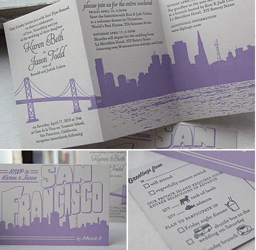 Stationery, purple, black, silver, Invitations, Kavamore press, Sanfrancisco