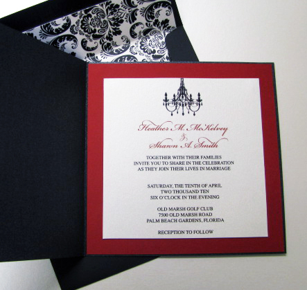 Ceremony, Reception, Flowers & Decor, Stationery, white, red, black, invitation, Invitations, Elegant, Chandelier, Damask, Metallic, Divine designs llc