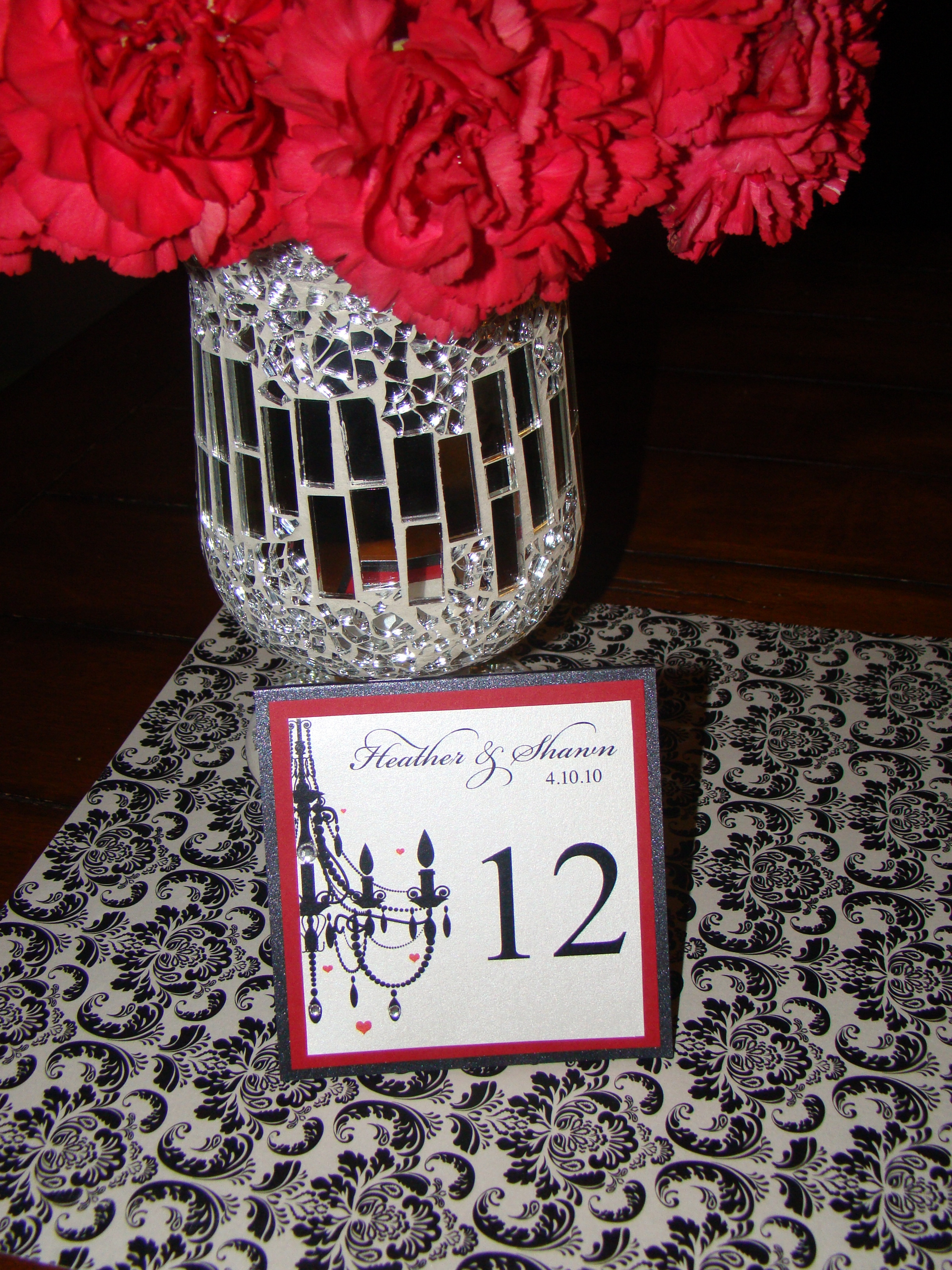 Reception, Flowers & Decor, Stationery, white, red, black, Invitations, Custom, Table, Elegant, Numbers, Pretty, Damask, Pearl, Metallic, Divine designs llc