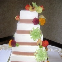 cake, green, orange, Ribbon, Florals, Fondant, Buttercream, Fresh, Icing, Delectable delights by debbie, Cakes, Ribbon Wedding Cakes