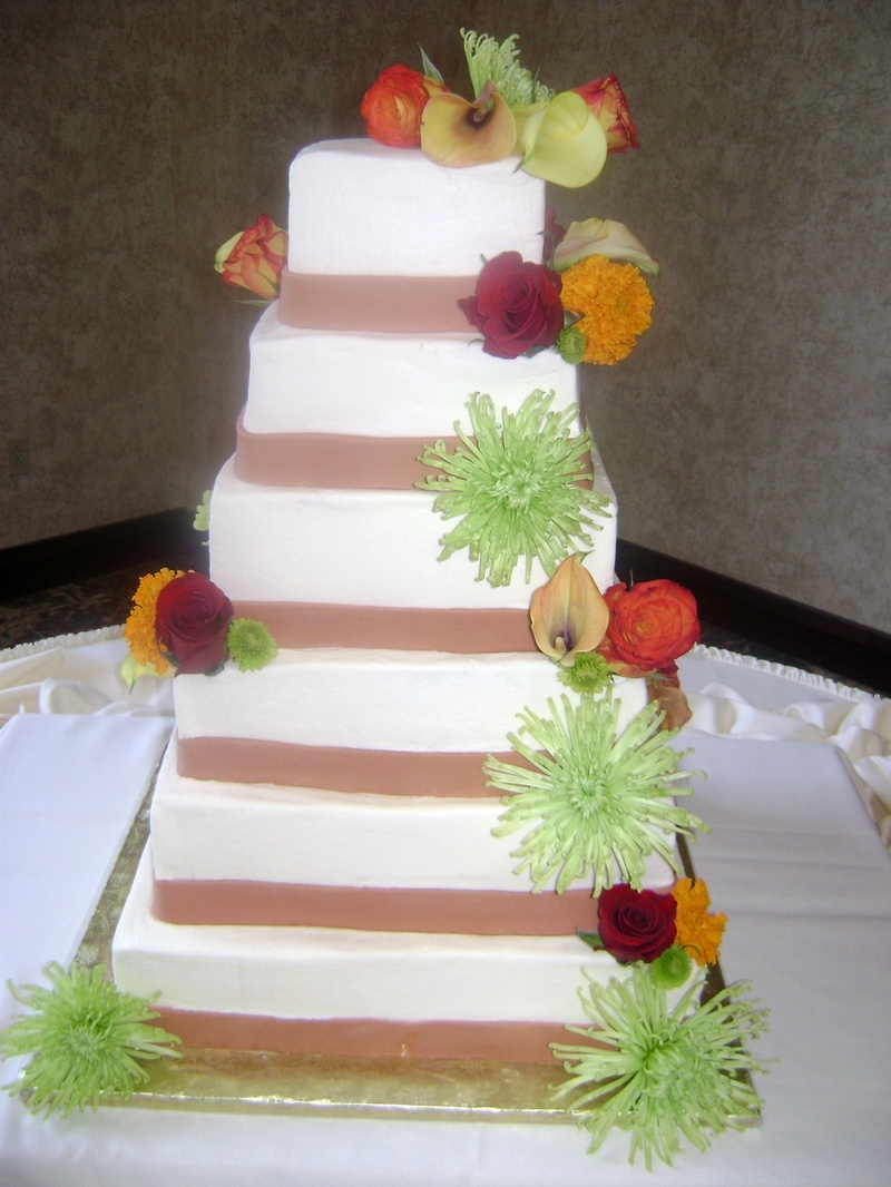 Cakes, orange, green, cake, Ribbon Wedding Cakes, Fondant, Buttercream, Ribbon, Florals, Fresh, Icing, Delectable delights by debbie