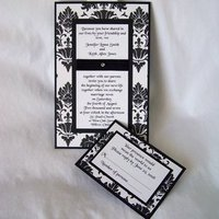 Stationery, white, black, invitation, Classic Wedding Invitations, Invitations, Wedding, Damask, Enchanted moments - invitations cards