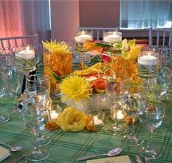 Reception, Flowers & Decor, yellow, orange, pink, green, Flowers, Wedding, Hawaiian, Kate, My, Parker, My kate parker wedding