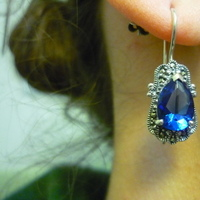 Jewelry, blue, silver, Earrings