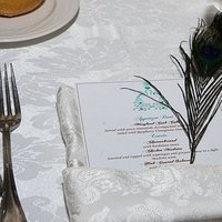 Beauty, Reception, Flowers & Decor, white, blue, brown, Feathers, Menu, Peacock, Feather, Cynthia ross affairs