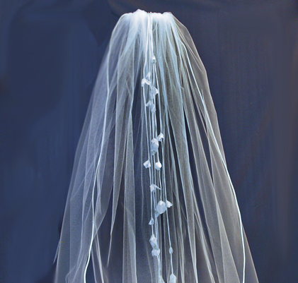 Beauty, Flowers & Decor, Veils, Fashion, white, ivory, Bride Bouquets, Bride, Flowers, Veil, Hair, Floral, Headpiece, Cathedral, Silk, Cord, Streamers, Damselfly studio, Flower Wedding Dresses, Silk Wedding Dresses