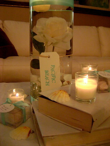 Reception, Flowers & Decor, white, blue, Beach, Centerpieces, Beach Wedding Flowers & Decor, Centerpiece