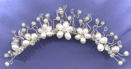 Beauty, Jewelry, white, silver, Tiaras, Comb, Hair, Bridal, Tiara, Floral, Crystal, Headpiece, Pearl, Freshwater, Damselfly studio