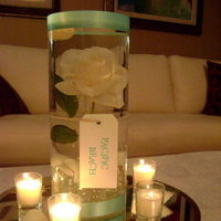 Reception, Flowers & Decor, white, blue, Beach, Beach Wedding Flowers & Decor