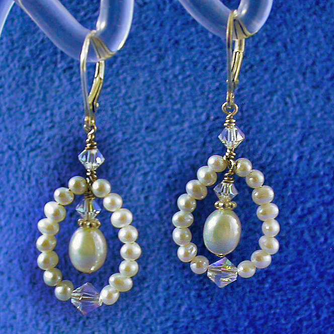 Jewelry, white, silver, Bride, Bridesmaid, Crystal, Swarovski, Drop, Earring, Pearl, Freshwater, Sterling, Damselfly studio