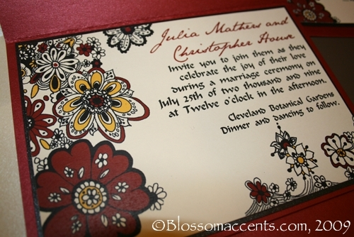 Stationery, red, black, Invitations, Blossoms, Blossom accents