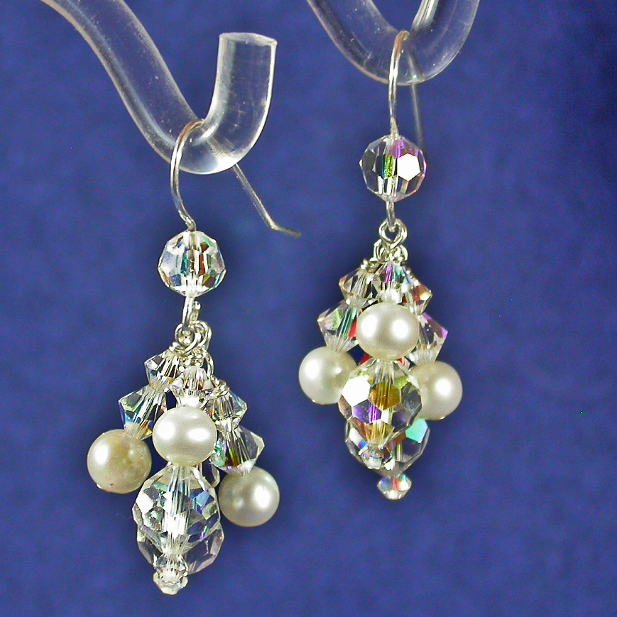 Jewelry, white, silver, Bride, Crystal, Swarovski, Earring, Dangles, Damselfly studio