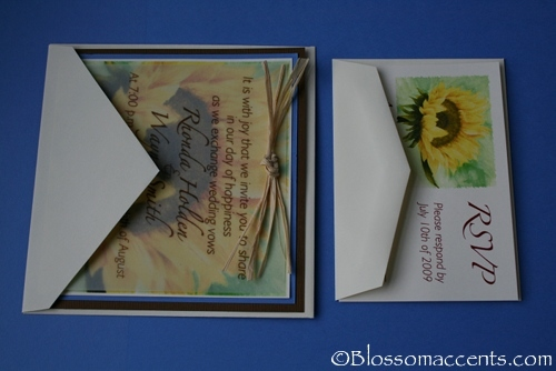 Stationery, blue, brown, Invitations, Sunflower, Blossom accents